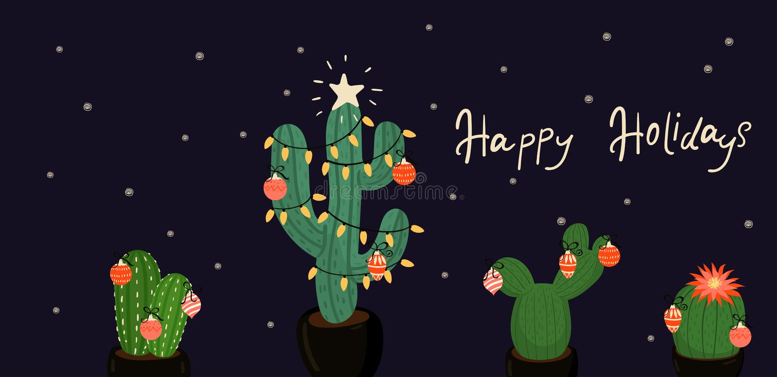 Banner with Christmas decorated cacti. vector image. Banner with Christmas decorated cacti. Vector graphics vector illustration