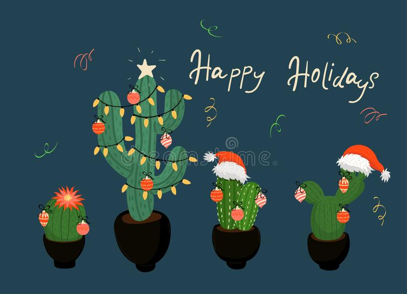Banner with Christmas decorated cacti. vector image. Banner with Christmas decorated cacti. Vector graphics royalty free illustration