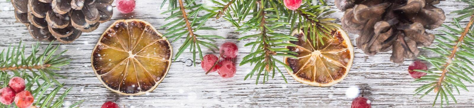banner of Christmas branches with cones viburnum berries and dry lemon slice stock images