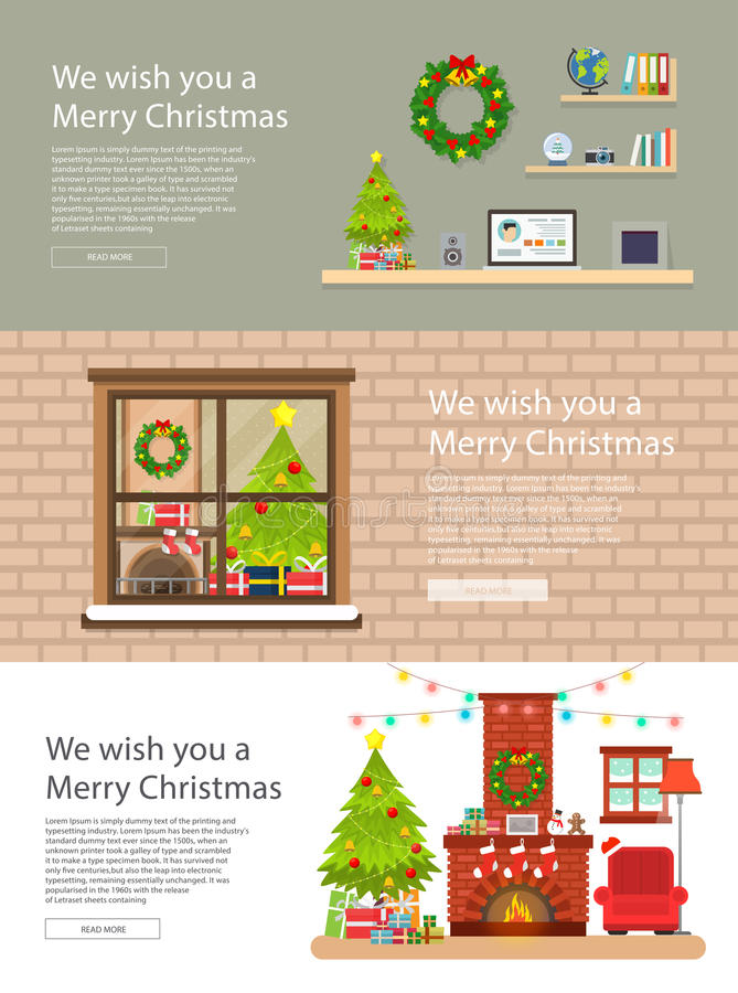 Banner christmas interior flat design illustration vector. Vector big set of Horizontal banners with Merry Christmas and Happy New Year . Christmas home flat royalty free illustration