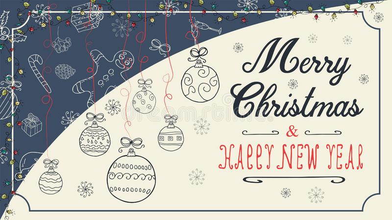 Banner Christmas new year outline sketches for decoration design style childrens Doodle toys balls hanging on the left on the stock illustration