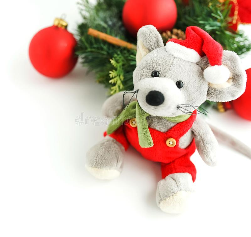 Christmas rat toy, symbol chinese happy new year 2020. Banner Christmas rat toy, symbol chinese happy new year 2020 . Xmas background.  Close up mouse in santa royalty free stock image