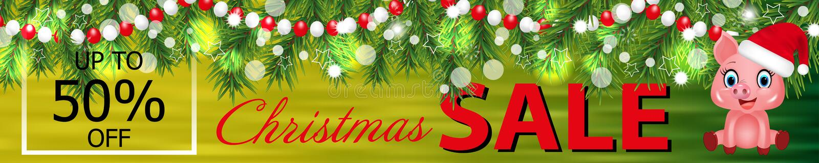 Banner Christmas Sale with cute pig zodiac symbol in the Chinese calendar the of the 2019 Year and garland of Christmas tree royalty free illustration
