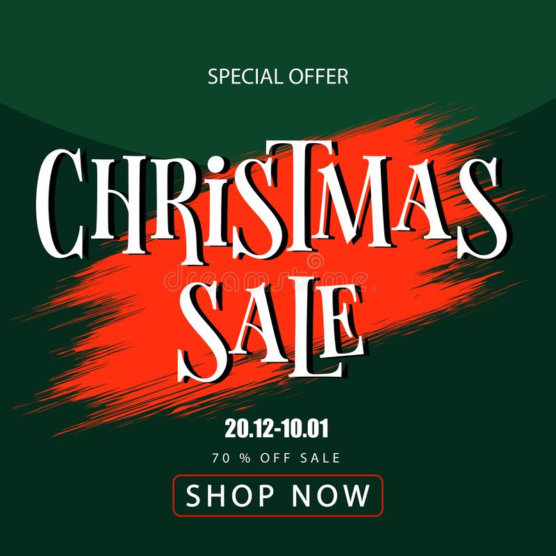 Banner christmas sale. Discount coupon. Sell-out royalty free stock image