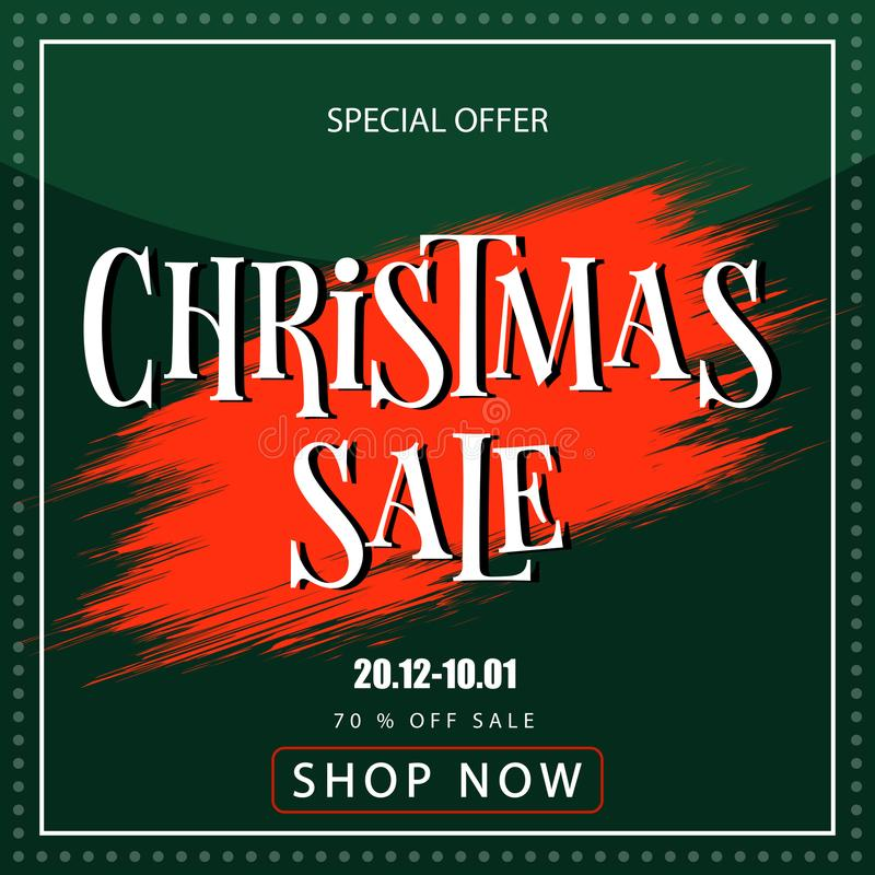 Banner christmas sale. Discount coupon. Sell-out stock photo