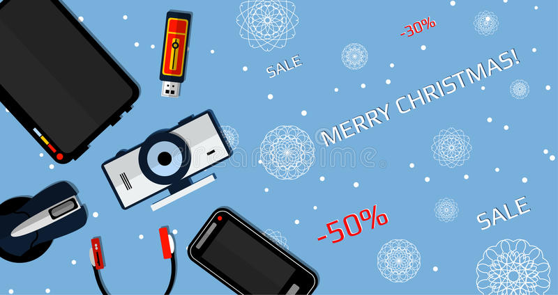 Banner Christmas Sale. Flat illustration. Gadgets on a blue background with snowflakes vector illustration