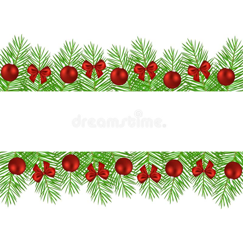 Banner of Christmas trees decorated with balls and bows vector illustration