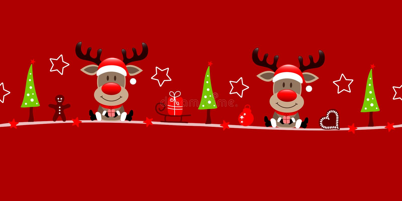 Banner Christmas Two Reindeers With Gift And Icons Red stock illustration