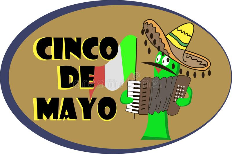 Banner for a Cinco de mayo with a cheerful cactus vector illustration