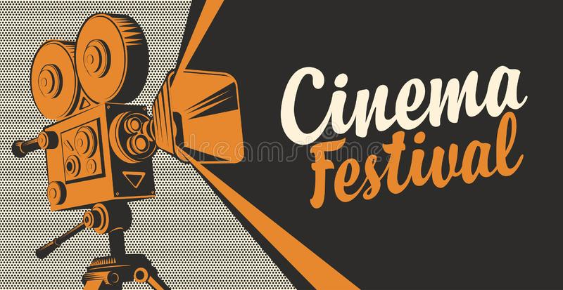 Banner for cinema festival with old movie camera. Vector poster for cinema festival with old fashioned movie projector or camera. Retro movie background with royalty free illustration