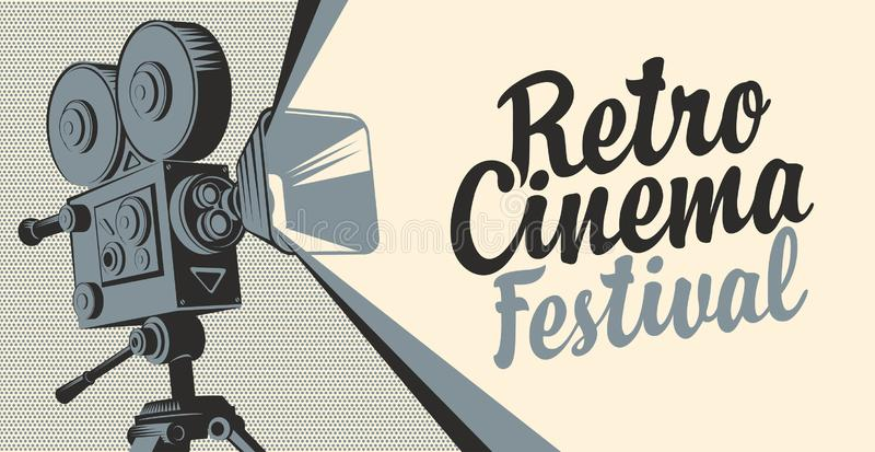 Banner for cinema festival with old movie camera. Vector poster for retro cinema festival with old fashioned movie projector or camera. Movie background with stock illustration
