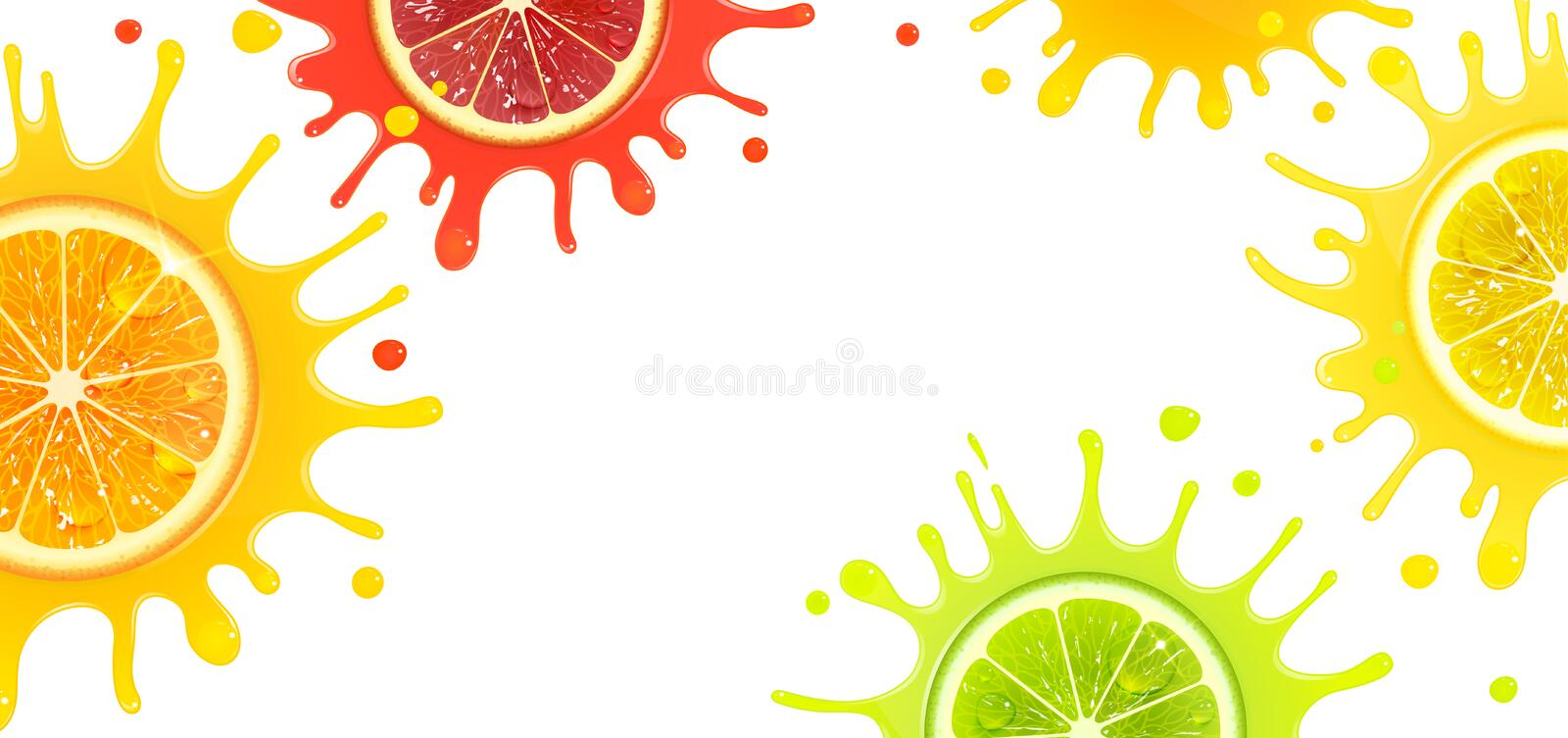 Banner with Citrus Fruits and Splash Juice. On a white background royalty free illustration