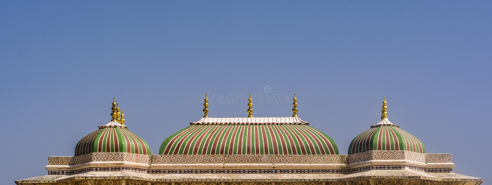 Banner: City palace Jaipur - Colourful Towers stock images