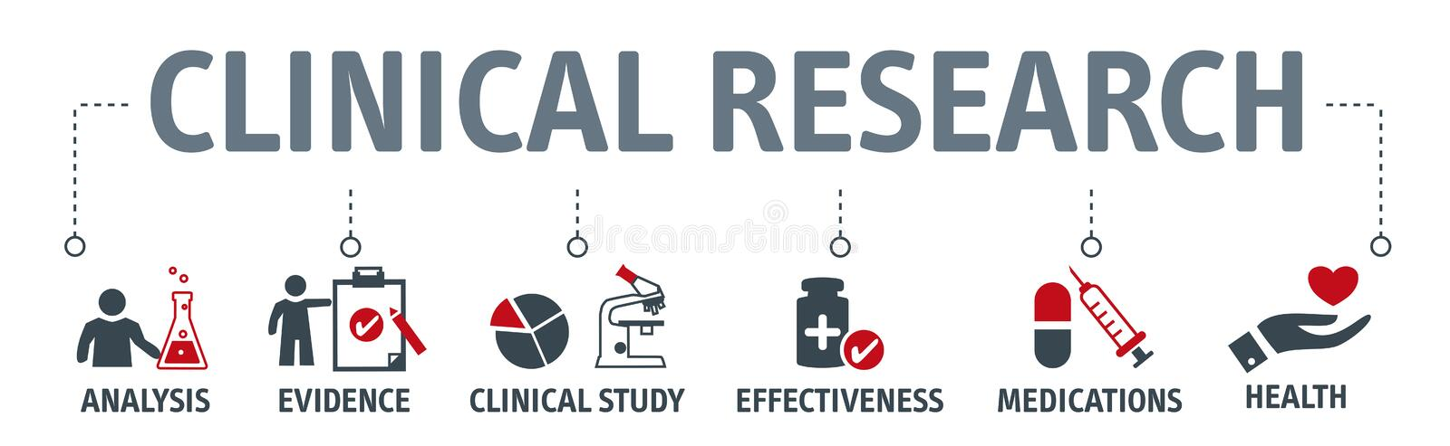 Banner clinical resarch concept illustration. Banner clinical research concept Science, chemistry, technology vector illustration with icons and keywords stock illustration