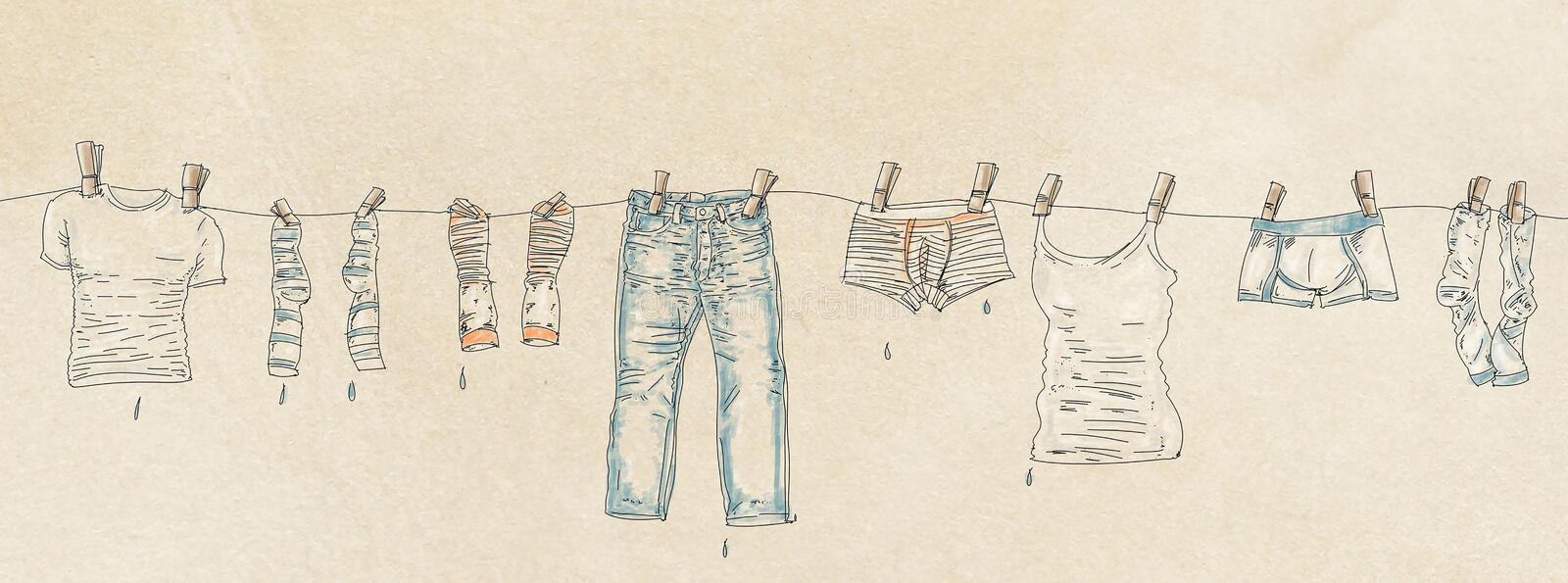 Banner clothes hanging out of him stock illustration