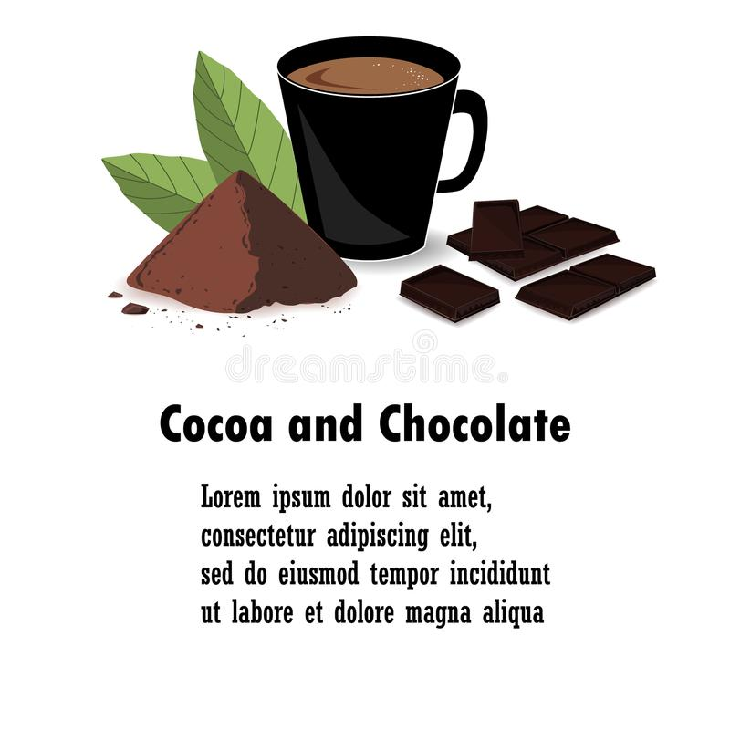 Banner with cocoa powder, chocolate bar, cocoa beans, and cocoa drink. Print, template, design element for packaging and advertisi. Banner with cocoa leaves stock illustration