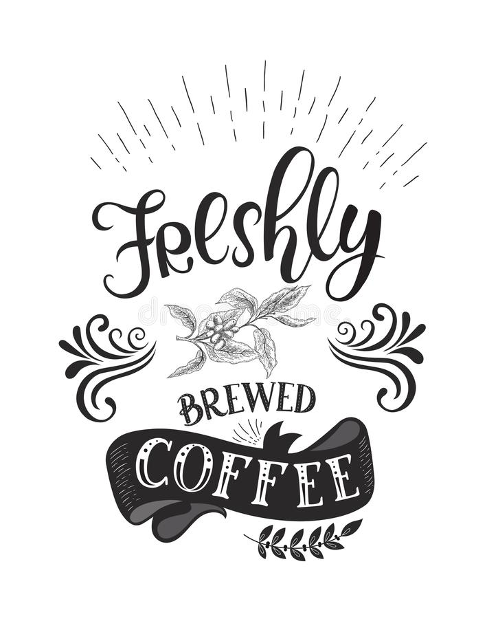 banner coffee quotes vector hand drawn lettering stock