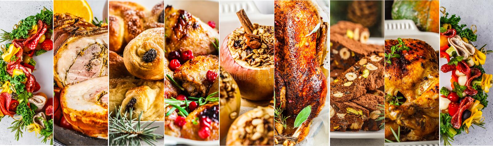 Banner collage of traditional christmas food. Christmas baked meat, snacks, desserts, rolls, baked apples royalty free stock images