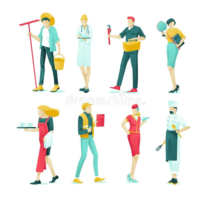 Banner Collection Various Professions Cartoon. stock illustration