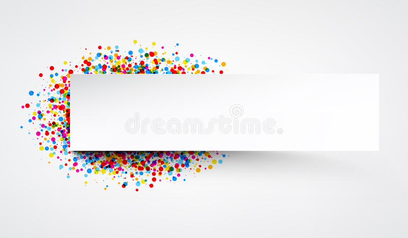 Banner with color drops. White paper banner with color drops. Vector illustration stock illustration