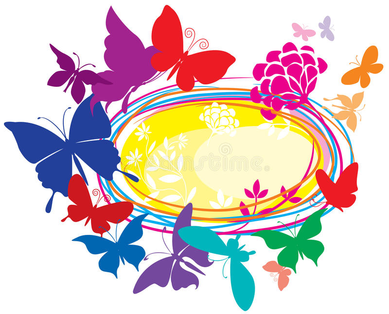 Banner with colorful butterflies stock illustration