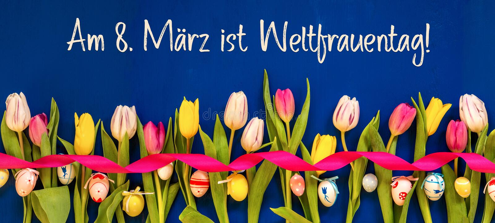 Banner With Colorful Tulip, Weltfrauentag Means Women Day, Easter Egg royalty free stock photography
