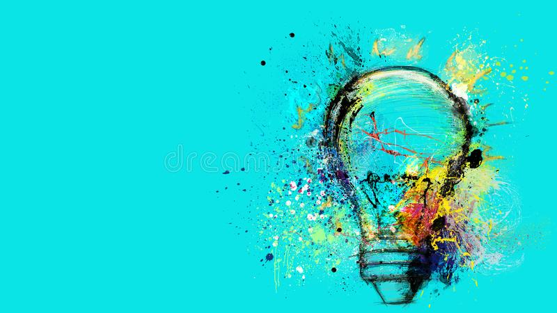 Big stylized light bulb on cyan background drawn with splashes of colored paint. Concept of innovation and creativity. Banner concept of innovation, creativity royalty free stock images