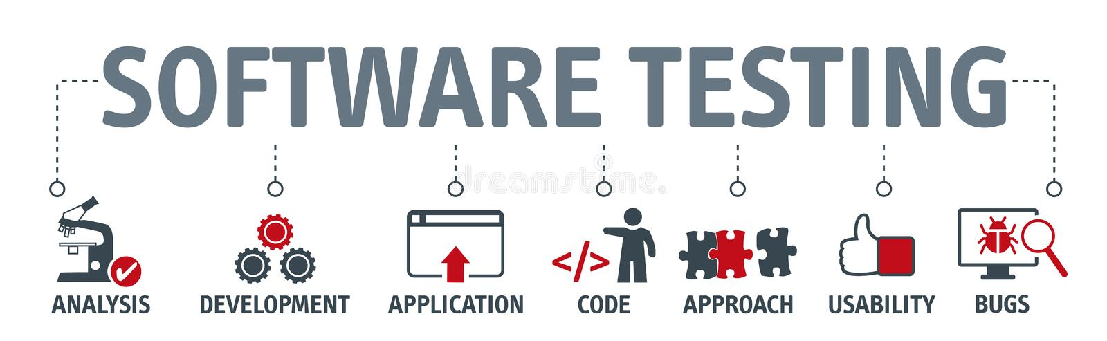 Banner software testing with vector icons royalty free illustration