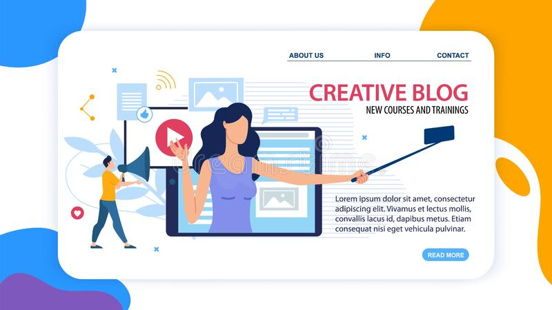 Banner Creative Blog New Courses and Training. royalty free illustration