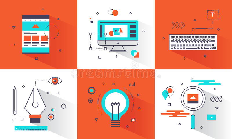 Banner creative graphic design concept. Abstract element and Flat line icons style for website, business creative, education stock illustration