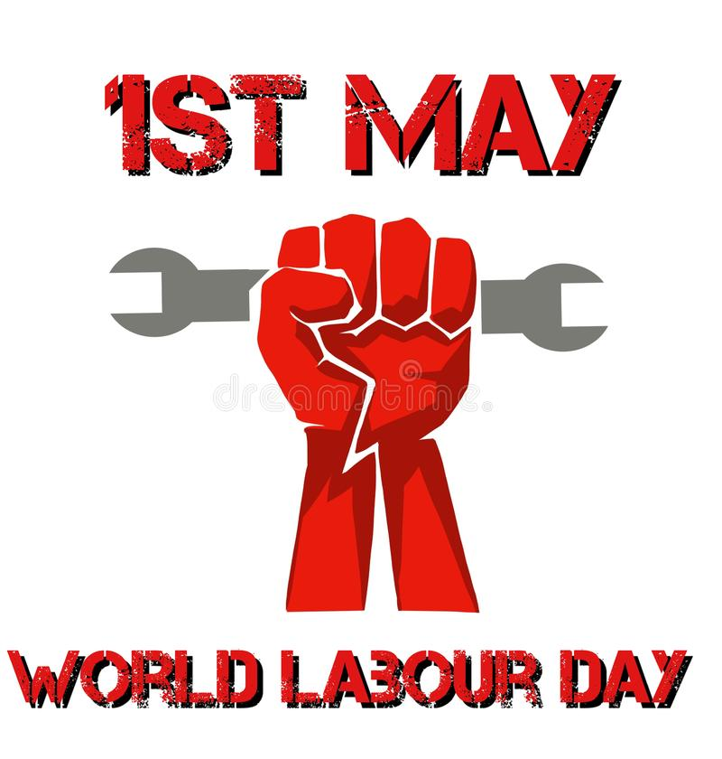 perfect banner for world labour day with a fist vector illustration