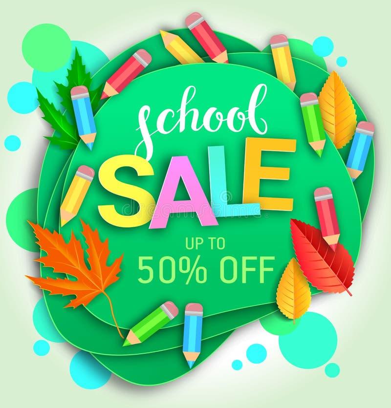 Banner creativo per la vendita delle scuole immagine stock