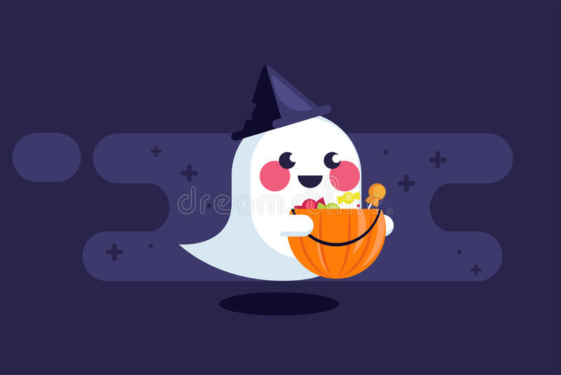 Banner with cute ghost hat and pumpkin with candies. Vector flat illustration royalty free illustration