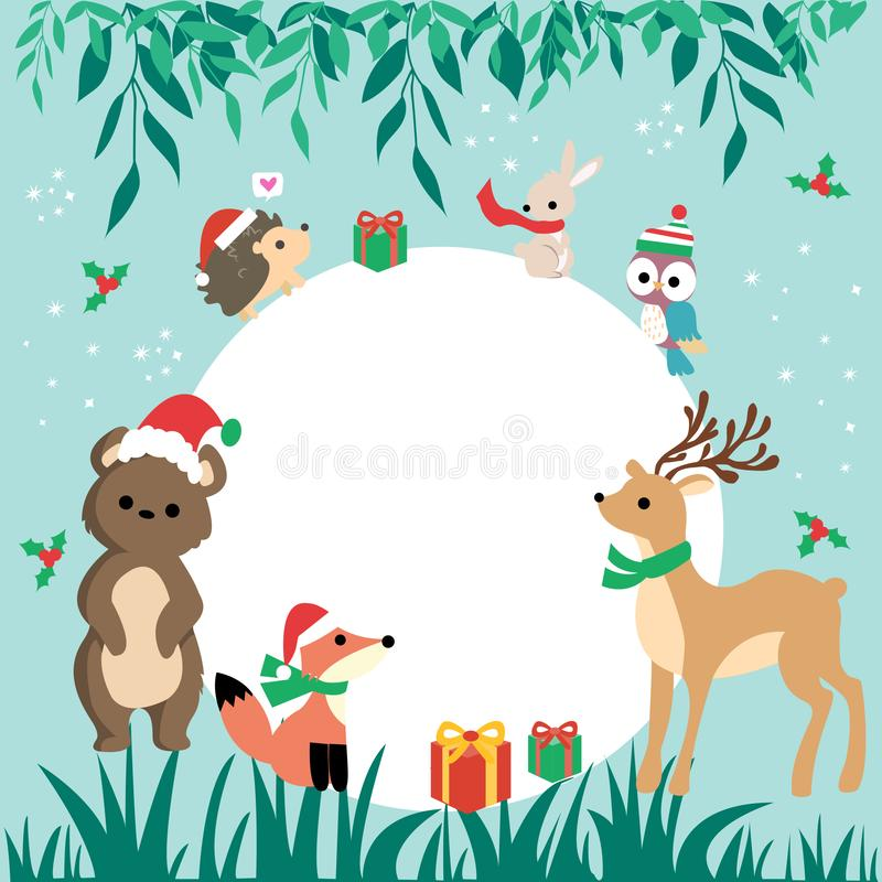 Banner with cute winter animals with presents and scarfs. merry christmas and happy new year. Collection of Christmas animal, Merry Christmas illustrations of stock photo