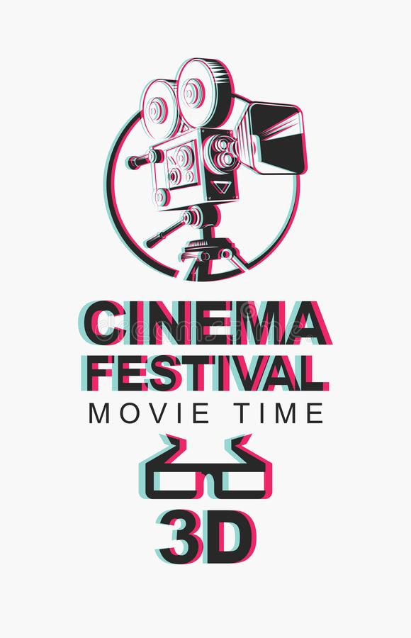 Banner for 3D cinema festival with 3d glasses. Vector banner for 3D cinema festival with blurred image of old-fashioned movie projector and 3D glasses. Movie stock illustration