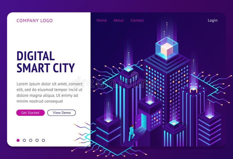 Banner da página de aterrissagem isométrica da cidade inteligente digital ilustração royalty free
