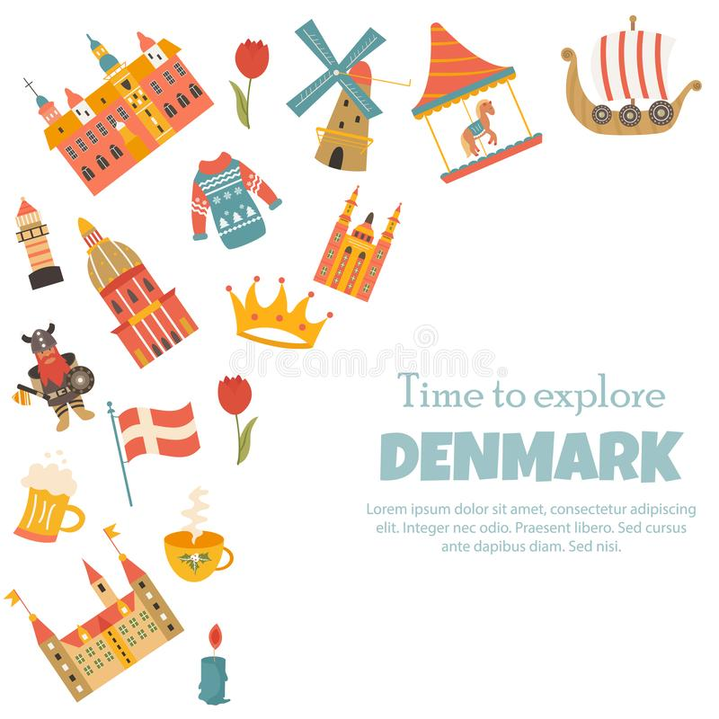 Banner with danish symbols, famous places. Characters. Illustrated poster with place for text royalty free illustration