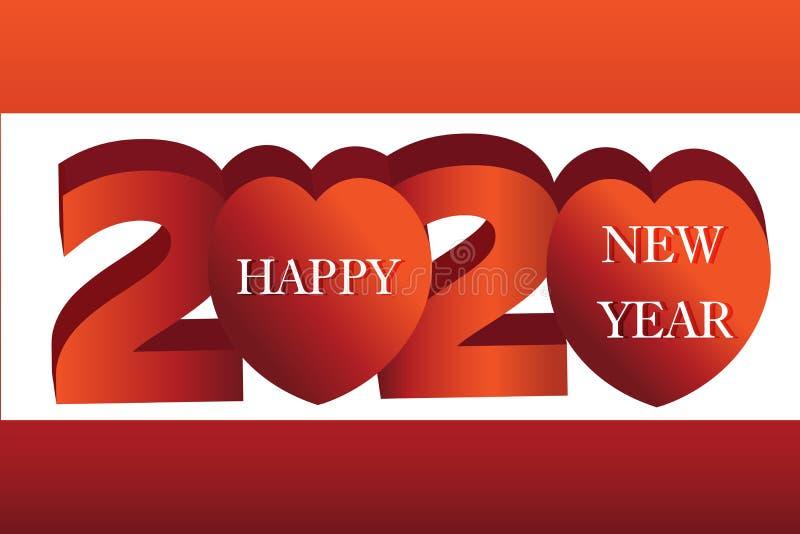 Banner de Ano Novo Feliz 2020, Vetor Cardíaco ilustração do vetor