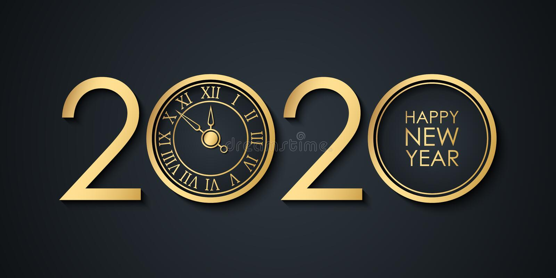 Banner de celebración de Año Nuevo 2020 con números de 2020 diseño creativo, reloj de oro y saludos Feliz Año Nuevo stock de ilustración