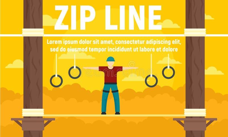 Banner de conceito de linha de zip da floresta, estilo plano ilustração stock