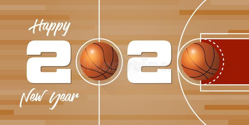 Banner de Feliz Año Nuevo 2020 con baile de baloncesto y confeti de papel sobre los antecedentes de la cancha de baloncesto ilustración del vector