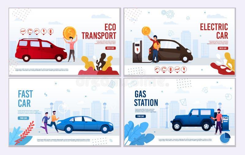 Banner de la página web de automoción oferta transporte ecológico ilustración del vector