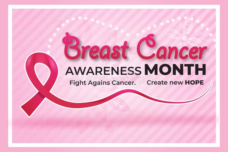 Banner de sensibilização para o câncer de mama, Vetor de banner moderno, Modelo de câncer de mama, Mês de outubro ilustração do vetor
