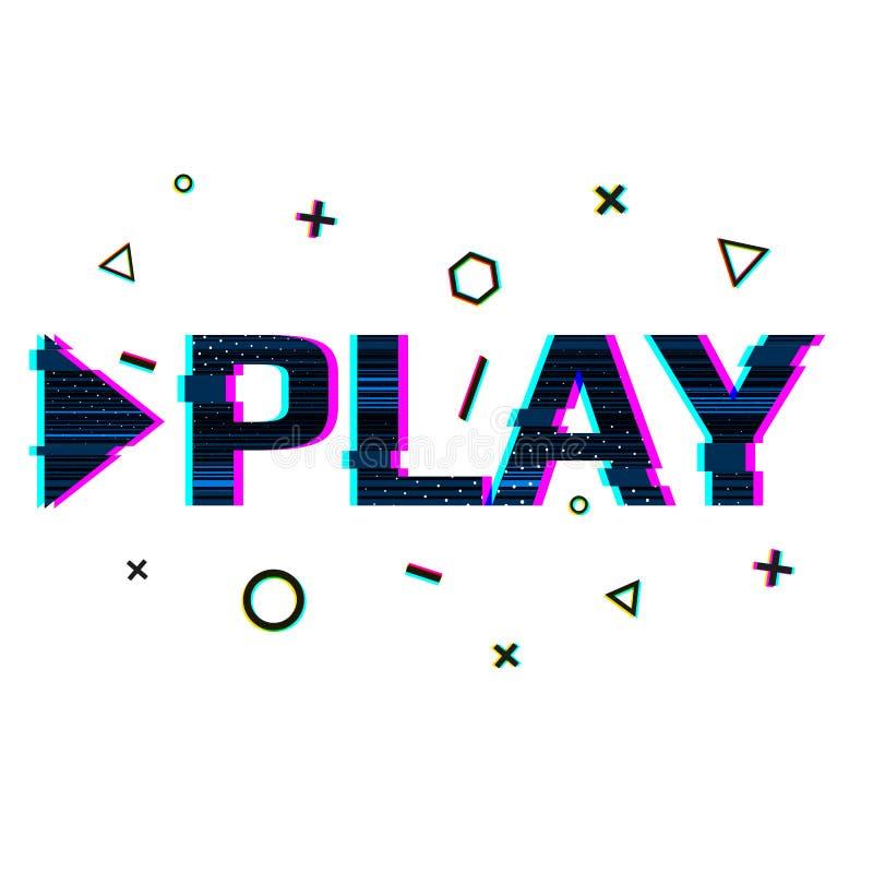 Banner in de stijl van glitch met het woordspel Word spel in Sierontwerpglitch en lawaai Ontwerpen voor banners stock illustratie