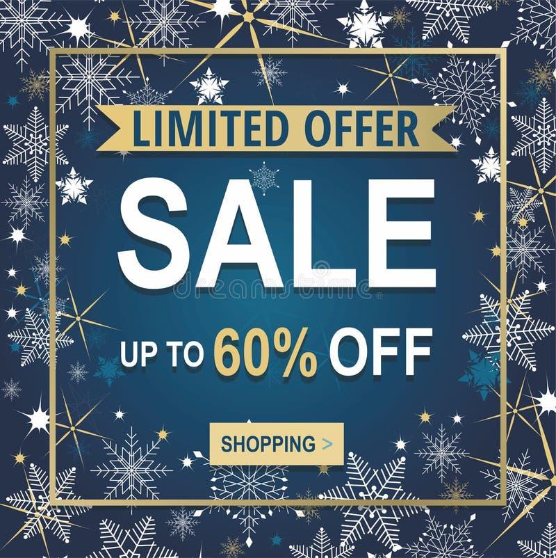 Banner de venda de inverno com flocos de neve isolados em fundo azul ilustração stock