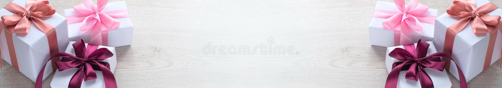 Banner Decorative box for the holiday. royalty free stock images