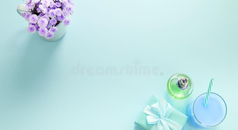 Banner Decorative composition flat lay set of items flowers perfume cocktail gift Top view copy space stock photo