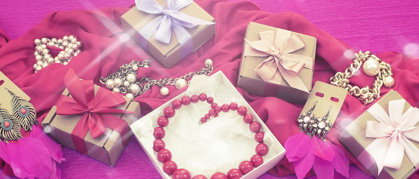 Banner Decorative composition preparation for the holiday Decoration gifts stock images