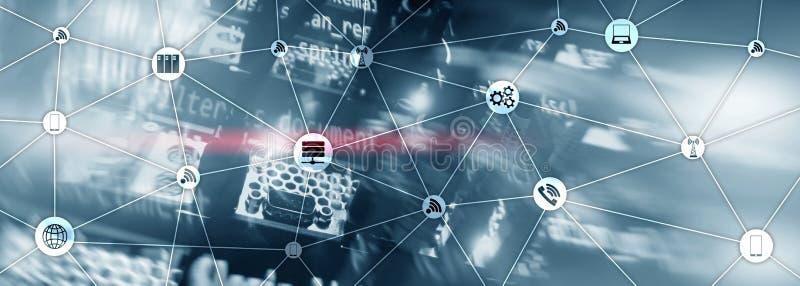 Banner del sitio web Medios mixtos IOT - Internet de las cosas conceptos TIC - tecnología de la información y las telecomunicacio stock de ilustración