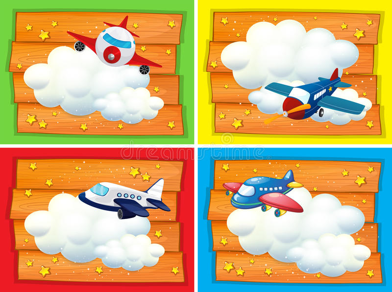 Banner design with airplanes in the sky stock illustration